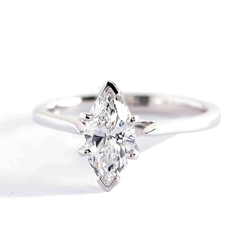0.90Ct SI2 F Tapered Petite Marquise Solitaire Diamond Engagement Ring 18K- Gold