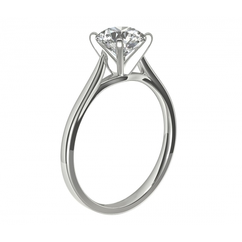1 Ct VS2 H Tapered Petite Princess Solitaire Diamond Engagement Ring 18K- Gold