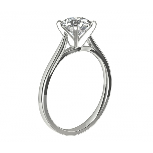 1.50 Cts SI2 D Tapered Petite Round Solitaire Diamond Engagement Ring Platinum