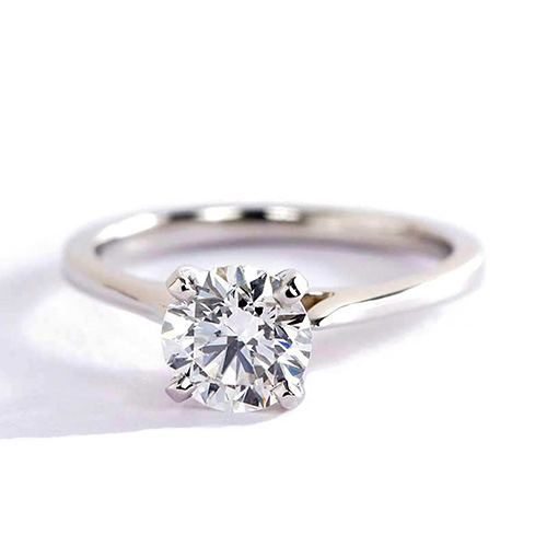 0.90 Ct SI2 H Tapered Petite Round Solitaire Diamond Engagement Ring Platinum