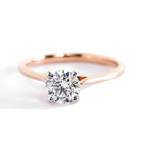 0.70 Ct SI2 D Tapered Petite Round Diamond Engagement Ring 18K-Rose Gold