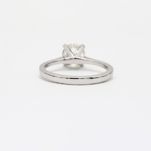 1 Ct SI2 D Tapered Petite Round Solitaire Diamond Engagement Ring 18K-White Gold