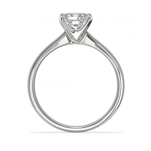 1 Ct VS2 F Comfort fit Princess Solitaire Diamond Engagement Ring 18K-White Gold