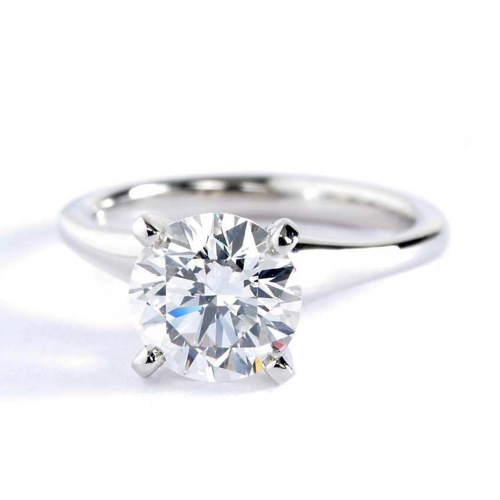 1.50 Cts SI2 D Contemporary Round Cut Solitaire Diamond Engagement Ring Platinum