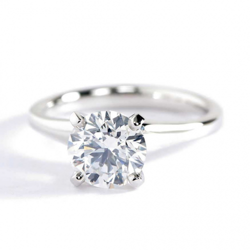 1 Ct SI2 F Contemporary Round Solitaire Diamond Engagement Ring 18K-White Gold