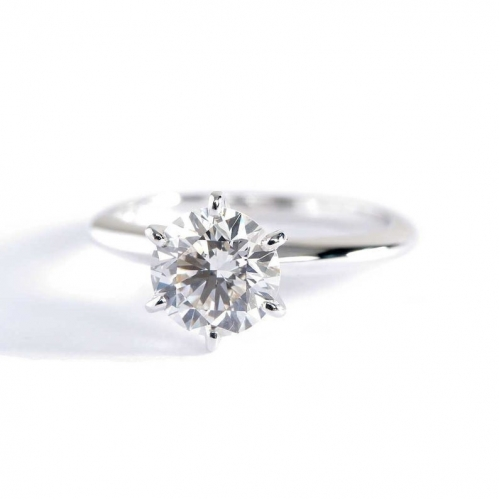0.90 Ct SI2 H Tapered Round Cut Solitaire Diamond Engagement Ring 18K-White Gold
