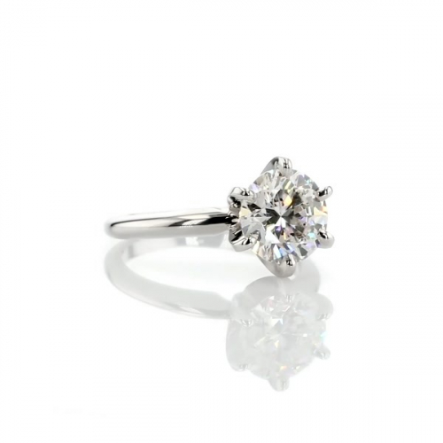 1.50 Cts SI2 D Tapered Round Solitaire Diamond Engagement Ring 18K-White Gold