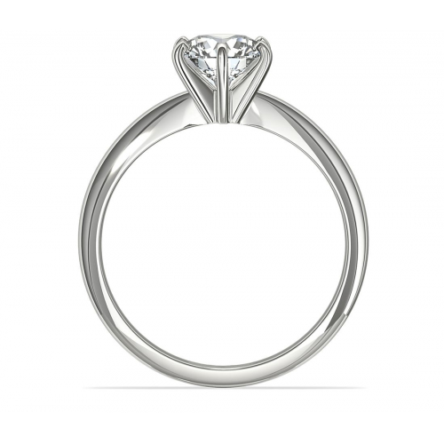 GIA0.70 Ct SI2 D Tapered RoundSolitaire Diamond Engagement Ring 18K-White Gold