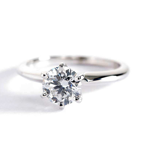 0.90 Ct SI2 F Tapered Round Cut Solitaire Diamond Engagement Ring 18K-White Gold