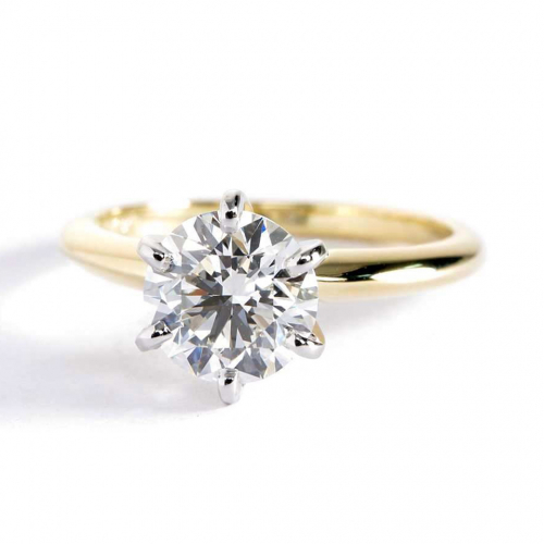 1.50 Cts SI2 F Tapered Round Solitaire Diamond Engagement Ring 18K-Yellow Gold