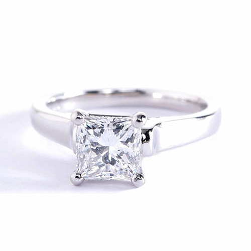 0.90 Carat VS2 F Princess Cut Solitaire Diamond Engagement Ring 18K-White Gold