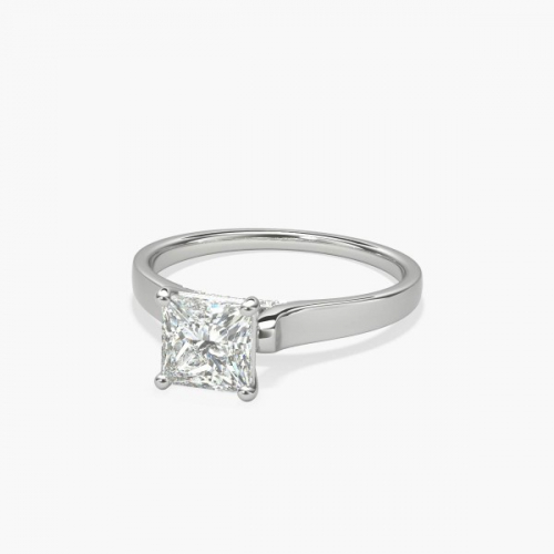 0.90 Carat VS2 F Princess Cut Solitaire Diamond Engagement Ring 18K-White Gold