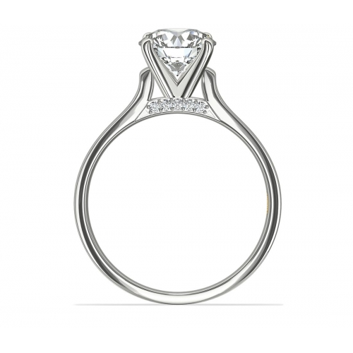 1.50 Carats SI2 D Round Cut Solitaire Diamond Engagement Ring 18K-White Gold