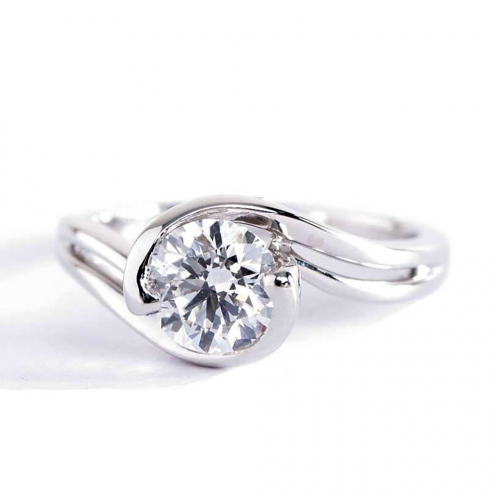 1 Ct SI2 D Contemporary Twist Round Solitaire Diamond Engagement Ring Platinum