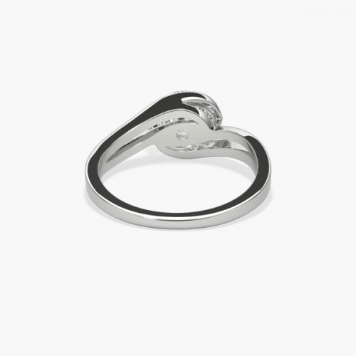 GIA 0.50Ct SI2 F Twist Round Solitaire Diamond Engagement Ring Platinum