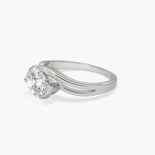 0.70 Ct SI2 F Contemporary Twist Round Diamond Engagement Ring 18K- Gold