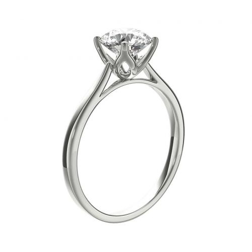 0.50 Ct SI2 F Petal Prongs Round Cut Solitaire Diamond Engagement Ring Platinum