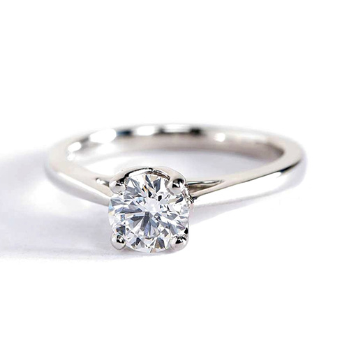 0.90 Ct SI2 D Petal Prongs Round Cut Solitaire Diamond Engagement Ring Platinum
