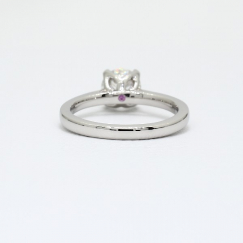 GIA 0.90 Ct SI2 D Petal Prongs Round Solitaire Diamond Engagement Ring Platinum