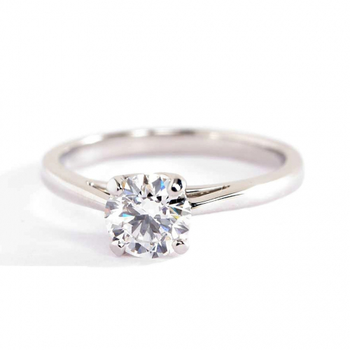 1 Ct SI2 H Petal Prongs Round Cut Solitaire Diamond Engagement Ring Platinum