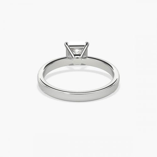 GIA 0.50 Ct VS2 F Milgrain Princess Solitaire Diamond Engagement Ring Platinum
