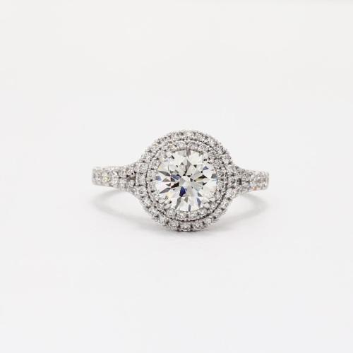 2.30 Ct SI2 G Round Brilliant Cut Double Diamond Halo Engagement Ring Platinum
