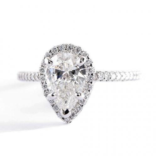 1.40 Cts SI2 F Pear Cut Diamond Halo Engagement Ring Platinum