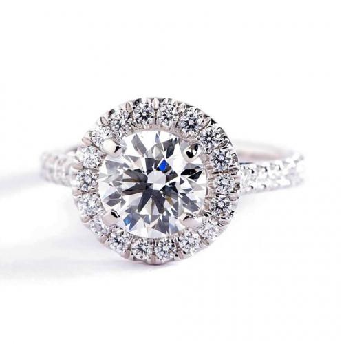 1.50 Ct SI2 G Round Brilliant Cut Vintage Diamond Halo Engagement Ring 18K-White Gold