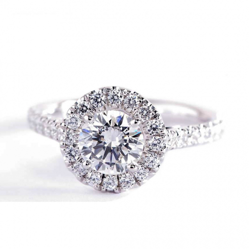 1.30 Ct SI2 F Round Brilliant Cut Vintage Diamond Halo Engagement Ring