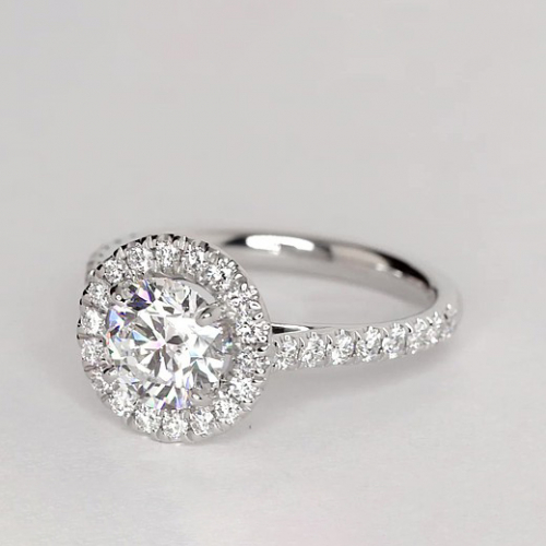 1.20 Ct SI2 F Round Brilliant Cut Vintage Diamond Halo Engagement Ring 18K-White Gold