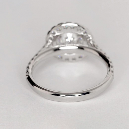 1.20 Ct SI2 F Round Brilliant Cut Vintage Diamond Halo Engagement Ring 18K-White Gold