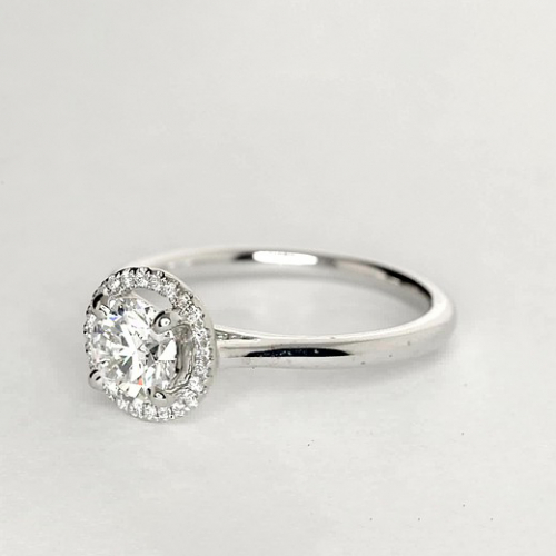 1.15 Ct SI2 G Round Brilliant Cut Vintage Floating Diamond Halo Engagement Ring Platinum