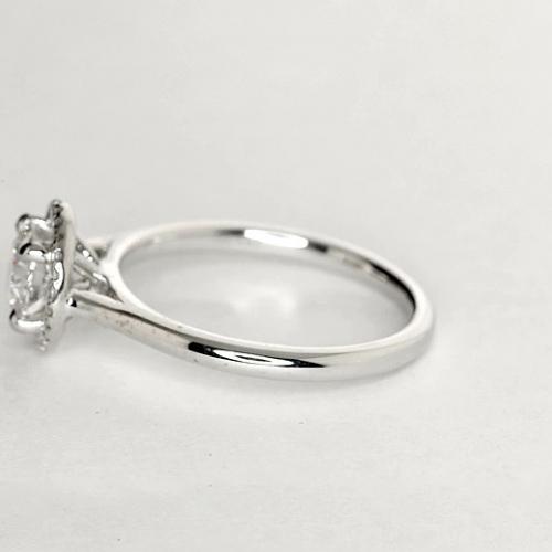 1.15 Ct SI2 G Round Brilliant Cut Vintage Floating Diamond Halo Engagement Ring Platinum