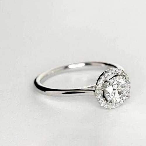 1.15 Ct SI2 G Round Brilliant Cut Vintage Floating Diamond Halo Engagement Ring 18K-White Gold