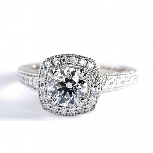1.55 Ct SI2 F Round Brilliant Cut Milgrain Double Prong Diamond Halo Engagement Ring
