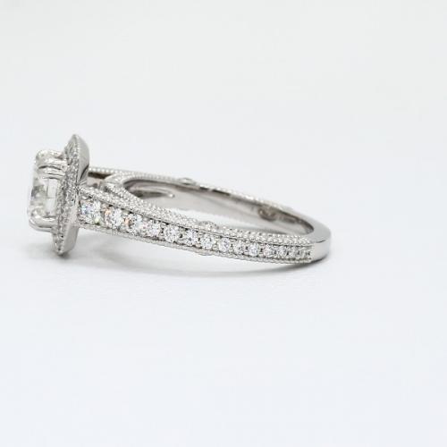 1.55 Ct SI2 F Round Brilliant Cut Milgrain Double Prong Diamond Halo Engagement Ring Platinum