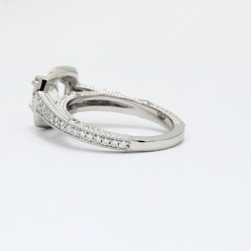 1.55 Ct SI2 F Round Brilliant Cut Milgrain Double Prong Diamond Halo Engagement Ring 18K-White Gold