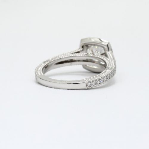 1.55 Ct SI2 F Round Brilliant Cut Milgrain Double Prong Diamond Halo Engagement Ring 18K-White Gold