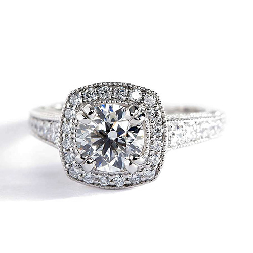 Round Brilliant Cut Milgrain Double Prong Diamond Halo Engagement Ring