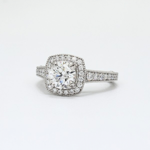 1.35 Ct SI1 G Round Brilliant Cut Milgrain Double Prong Diamond Halo Engagement Ring 18K-White Gold