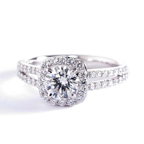 Round Brilliant Cut Split Shank Diamond Halo Engagement Ring