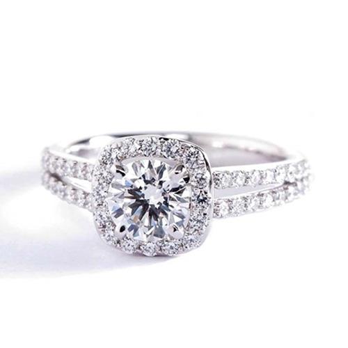 1.40 Ct SI2 F Round Brilliant Cut Split Shank Diamond Halo Engagement Ring