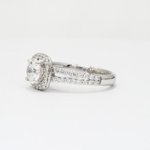 1.40 Ct SI2 F Round Brilliant Cut Split Shank Diamond Halo Engagement Ring 18K-White Gold