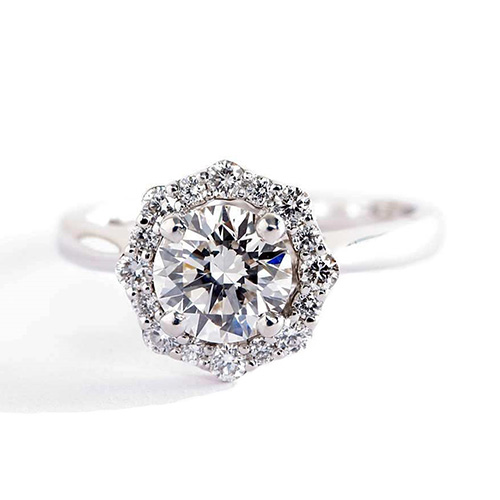 Round Brilliant Cut Flora Vintage Diamond Halo Engagement Ring