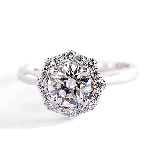 1.00 Ct SI1 H Round Brilliant Cut Flora Vintage Diamond Halo Engagement Ring 18K-White Gold