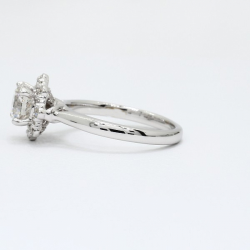 1.10 Ct SI2 H Round Brilliant Cut Flora Vintage Diamond Halo Engagement Ring 18K-White Gold