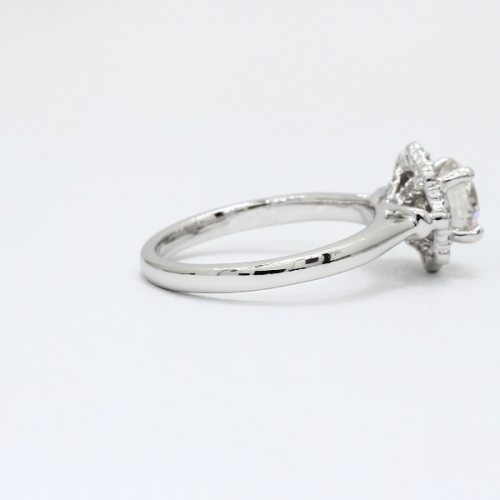 1.00 Ct SI1 H Round Brilliant Cut Flora Vintage Diamond Halo Engagement Ring 18K-White Gold
