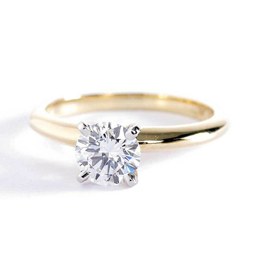 0.90 Ct VS2 G Round Brilliant Cut Tapered Diamond Solitaire Engagement Ring