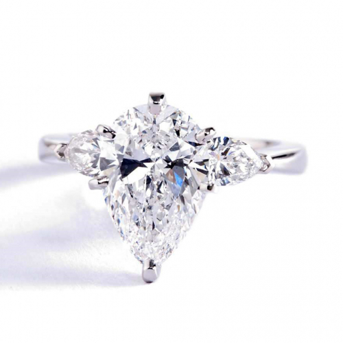 2.00 Ct SI2 F Pear Cut Pear Diamond Three Stone Engagement Ring