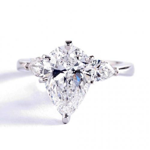 1.50 Ct SI2 F Pear Cut Pear Diamond Three Stone Engagement Ring